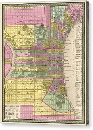 Antique Map Of Philadelphia By Samuel Augustus Mitchell - 1849 Canvas Print