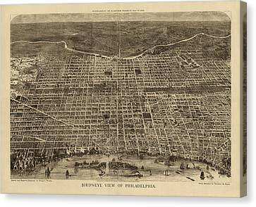 Antique Map Of Philadelphia By Theodore R. Davis - 1872 Canvas Print by Blue Monocle