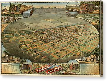 Antique Map Of Phoenix Arizona By C.j. Dyer - Circa 1885 Canvas Print by Blue Monocle