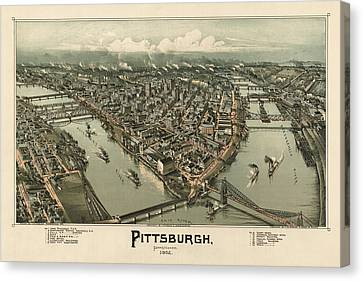 Pittsburgh Canvas Print - Antique Map Of Pittsburgh Pennsylvania By T. M. Fowler - 1902 by Blue Monocle