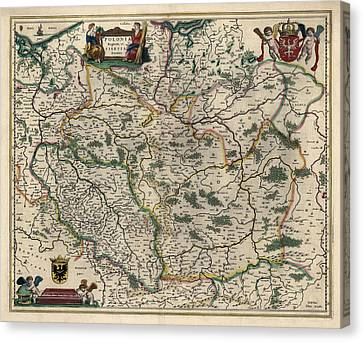 Canvas Print featuring the drawing Antique Map Of Poland By Willem Janszoon Blaeu - 1647 by Blue Monocle