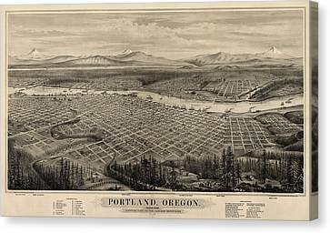 Old Canvas Print - Antique Map Of Portland Oregon By E.s. Glover - 1879 by Blue Monocle