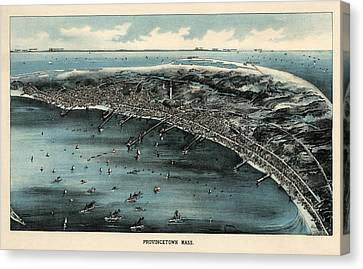 Antique Map Of Provincetown Massachusetts - 1910 Canvas Print