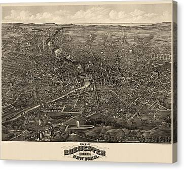 Antique Map Of Rochester New York By H.h. Rowley And Co. - 1880 Canvas Print