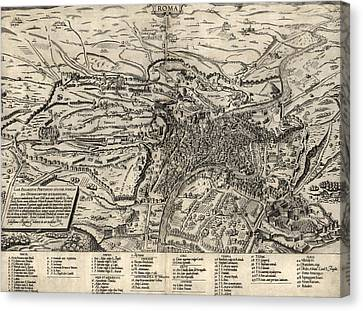 Old Canvas Print - Antique Map Of Rome Italy By Sebastianus Clodiensis - 1561 by Blue Monocle