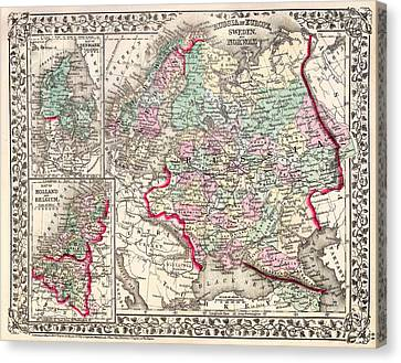 Antique Map Of Russia 1874 Canvas Print