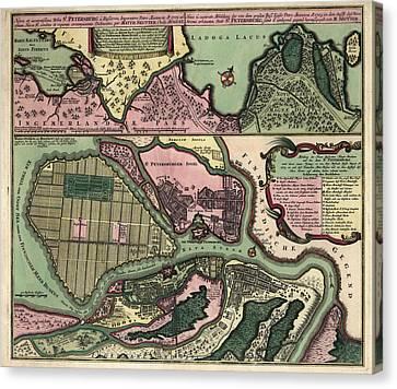 Antique Map Of Saint Petersburg Russia By Matthaeus Seutter - Circa 1734 Canvas Print by Blue Monocle