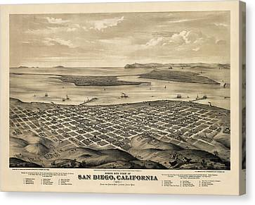 Antique Map Of San Diego California By E.s. Glover - 1876 Canvas Print by Blue Monocle