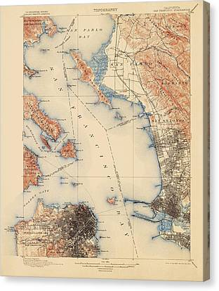 Antique Map Of San Francisco And The Bay Area - Usgs Topographic Map - 1899 Canvas Print by Blue Monocle