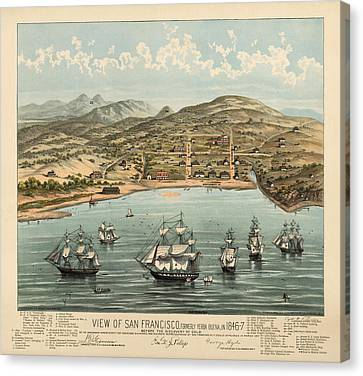 Antique Map Of San Francisco In 1846-7 Canvas Print