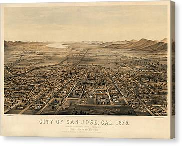 Antique Map Of San Jose California By Charles B. Gifford - 1875 Canvas Print by Blue Monocle