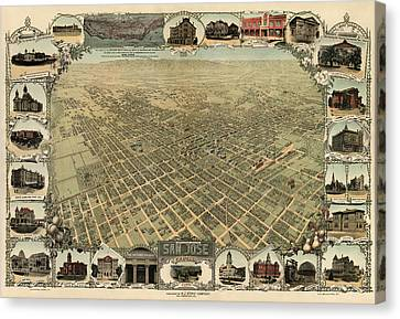 Antique Map Of San Jose California - Circa 1901 Canvas Print by Blue Monocle