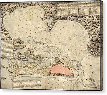 Antique Map Of San Juan Puerto Rico By Jose Montero De Espinosa - 1785 Canvas Print by Blue Monocle