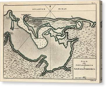 Antique Map Of San Juan Puerto Rico By Thomas Jefferys - 1768 Canvas Print by Blue Monocle