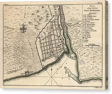 Antique Map Of Santo Domingo Dominican Republic By Thomas Jefferys - 1768 Canvas Print