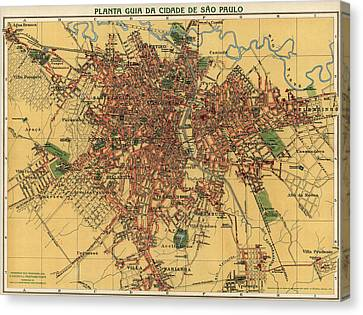 Antique Map Of Sao Paulo Brazil By Alexandre Mariano Cococi - 1913 Canvas Print by Blue Monocle