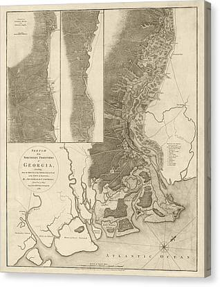 Old Canvas Print - Antique Map Of Savannah Georgia By Archibald Campbell - 1780 by Blue Monocle