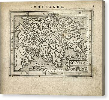 Antique Map Of Scotland By Abraham Ortelius - 1603 Canvas Print