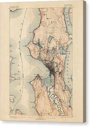 Old Canvas Print - Antique Map Of Seattle - Usgs Topographic Map - 1894 by Blue Monocle