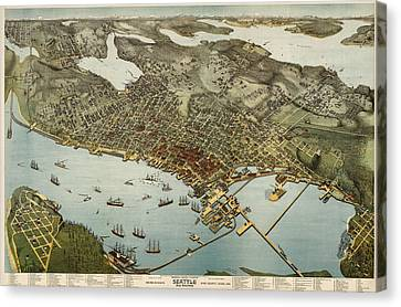 Antique Map Of Seattle Washington By Augustus Koch - 1891 Canvas Print by Blue Monocle