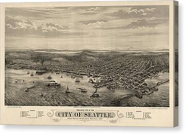 Old Canvas Print - Antique Map Of Seattle Washington By E.s. Glover - 1878 by Blue Monocle