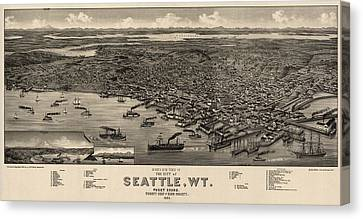 Antique Map Of Seattle Washington By H. Wellge - 1884 Canvas Print