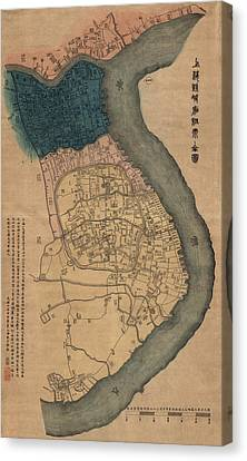 Antique Map Of Shanghai China By Dian Shi Zhai - 1884 Canvas Print by Blue Monocle