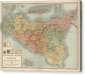 Antique Map Of Sicily Italy By Antonio Vallardi - 1900 Canvas Print by Blue Monocle