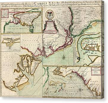 Crisp Canvas Print - Antique Map Of South Carolina By Edward Crisp - Circa 1711 by Blue Monocle