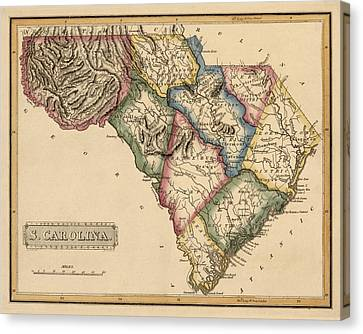 Antique Map Of South Carolina By Fielding Lucas - Circa 1817 Canvas Print by Blue Monocle