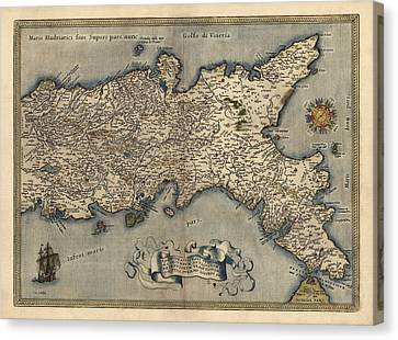 Antique Map Of Southern Italy By Abraham Ortelius - 1570 Canvas Print by Blue Monocle
