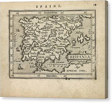 Antique Map Of Spain And Portugal By Abraham Ortelius - 1603 Canvas Print by Blue Monocle