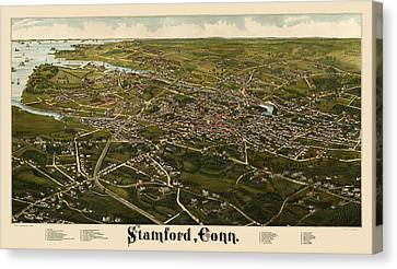 Antique Map Of Stamford Connecticut By L. R. Burleigh - 1883 Canvas Print
