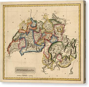 Antique Map Of Switzerland By Fielding Lucas - Circa 1817 Canvas Print by Blue Monocle