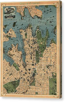 Antique Map Of Sydney Australia - 1922 Canvas Print by Blue Monocle
