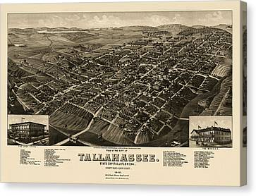 Old Canvas Print - Antique Map Of Tallahassee Florida By H. Wellge - 1885 by Blue Monocle
