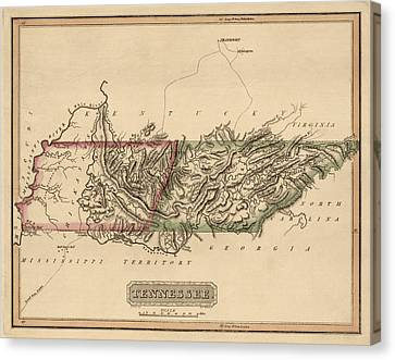 Antique Map Of Tennessee By Fielding Lucas - Circa 1817 Canvas Print