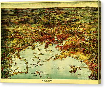 Boston Harbor 1905 Canvas Print by Celestial Images