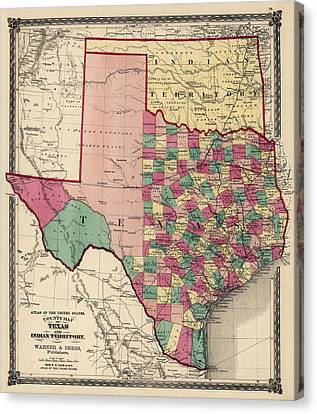 Antique Map Of Texas And Oklahoma By H. H. Lloyd And Co. - 1875 Canvas Print by Blue Monocle