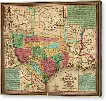 Antique Map Of Texas By James Hamilton Young - 1835 Canvas Print by Blue Monocle