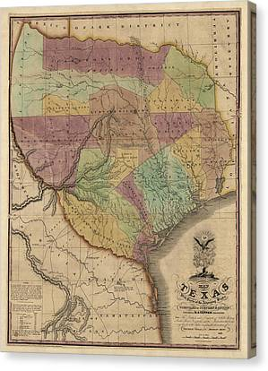 Antique Map Of Texas By Stephen F. Austin - 1837 Canvas Print by Blue Monocle