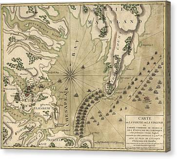 Antique Map Of The Battle Of Yorktown Virginia By Esnauts Et Rapilly - Circa 1781 Canvas Print by Blue Monocle