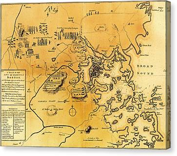 Antique Map Of The Battles Of Lexington And Concord 1775 Canvas Print