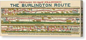 Antique Map Of The Burlington Route By H. R. Page And Co. - Circa 1879 Canvas Print by Blue Monocle