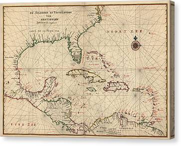 Antique Map Of The Caribbean And Central America By Joan Vinckeboons - Circa 1639 Canvas Print by Blue Monocle
