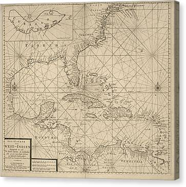 Antique Map Of The Caribbean By Johannes Loots - Circa 1705 Canvas Print