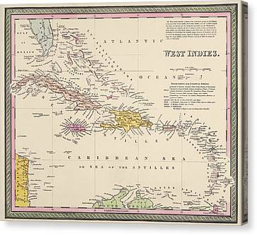 Old Canvas Print - Antique Map Of The Caribbean By Samuel Augustus Mitchell - 1849 by Blue Monocle