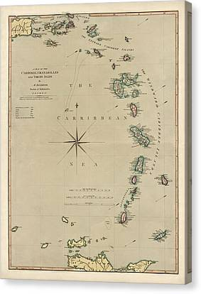 Antique Map Of The Caribbean - Lesser Antilles - By Mathew Richmond - 1789 Canvas Print by Blue Monocle