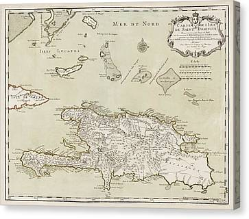 Turks And Caicos Islands Canvas Print - Antique Map Of The Dominican Republic And Haiti By Jacques Nicolas Bellin - 1745 by Blue Monocle