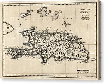 Antique Map Of The Dominican Republic And Haiti By Thomas Jefferys - 1768 Canvas Print by Blue Monocle